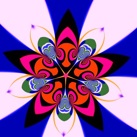 full frame: Pink psychedelic flower. Modern digital art. Made in full frame. Magic trance curves. Virtual visual arts. Many colored shapes. Five dynamic petals. Fun cyber surrealism. Odd flower on white and blue. Mystical lotus flower. Loony artificial deco.