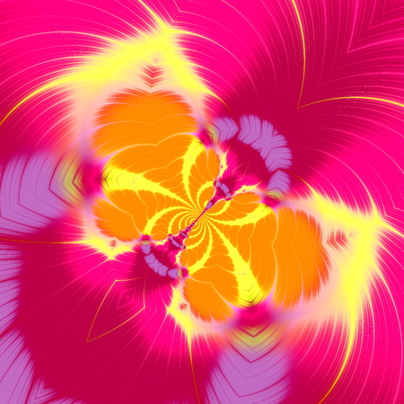 Abstract butterfly fractal illustration in pink yellow color. Fine modern deco. Cool round swirls. Weird girly poster. Spring season theme. Digital computer art. Macro style backdrop. Fun insect or fly rendering. Cute swirly creation. Wing artwork.