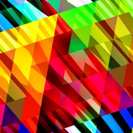 Abstract colorful background texture. Cool chaotic pic. Modern digital art. Flat design element. Trendy polygon mess. Triangular pixel art. Regular diamond shape pieces. Funky distorted lines. Bright color background. Computer backdrop in full frame.