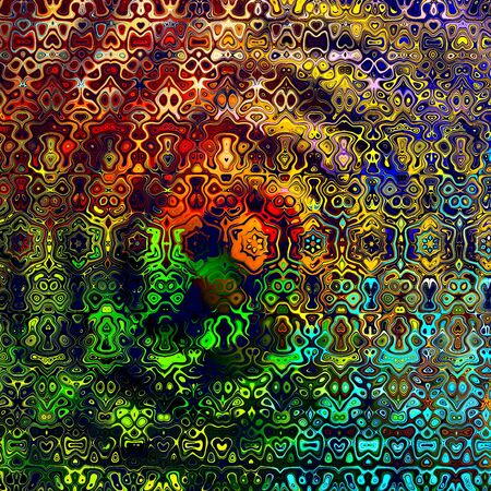 Weird colorful psychedlic pattern. Odd stained pic. Wavy deco clutter. Many molten forms. Messy insane style. Multi color graphic. Unusual stain decor. Random chaotic mess. Obscure unique idea. Stylized full frame element. Modern artsy structure.