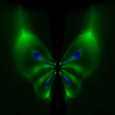 Abstract fluorescent butterfly illustration. Digital 3d render. Abstract cyber fly. Weird vibrant glow. Fancy magic fantasy. Glowing light effect. Cool blurry radiance. Odd dreamy butterfly. Nice green and blue colored creation. Soft blurred ornament. Stock Photo