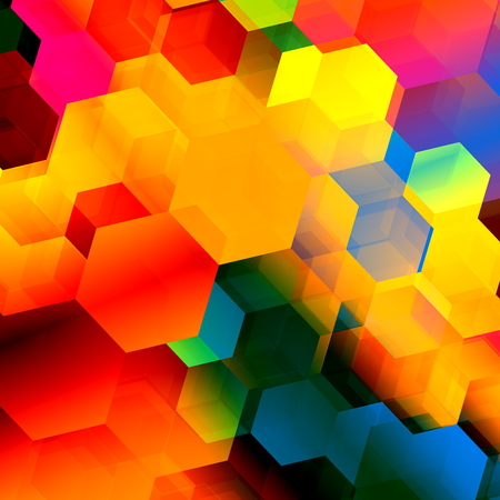 Psychedelic colourful hexagon geometry. Stylish ornate decor. Visual stylistic pic. Artistic full frame backdrop. Weird shape structure. Multi polygonal chaos. Funky vivid backcloth. Element for internet web site. Cool elegant rendering. Background.