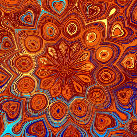 stoned: Abstract mandala background. Toned art decor. Modern flat style design. Arabian arts theme. Digital fantasy pic. Melted blot artwork. Odd shaped molten patterns. Floral deco elements. Lined oriental motif. Retro ornament in aztec style. Full backdrop.