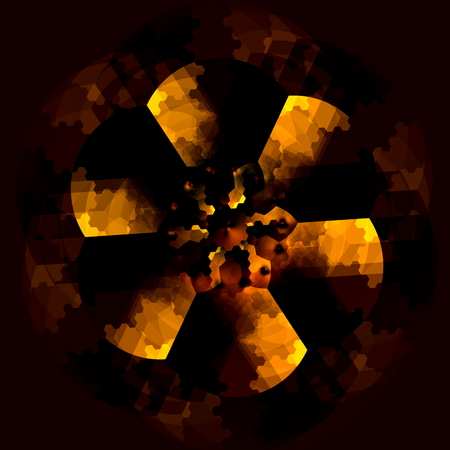 Odd dark floral object abstraction. Art deco style. Distinct full frame art. Dreamy unreal art. Artsy vivid decor. Odd graphic element. Cool abstract design. Funky black ornament. Dark symmetric ideas. Spooky visual effect. Golden shadow effect. Pic.