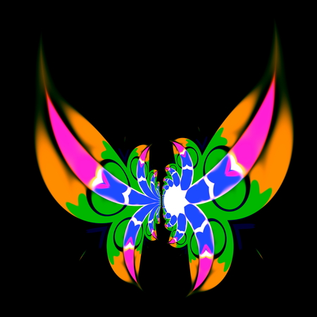 Modern art decoration. Deep curvy space. Artist made ideas. Fancy ornate wings. Funny flying insect on dark back. Funky magic fantasy. Bizarre freak lines. Artistic stoned fun. Vivid colors on black color. Round ornamental wing shape. Freaky pattern. Stock Photo