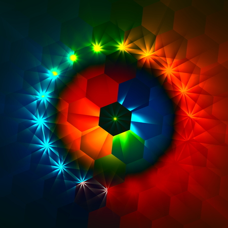 Weird colorful hexagons and shimmer. Magic dreamy style. Hex shaped geometry. Unusual glowing deco. Multi colored lights. Fun generative craft. Electric power lights. Shining stars or rays. Ornamental round shape. Artistry in full frame. Imagery.