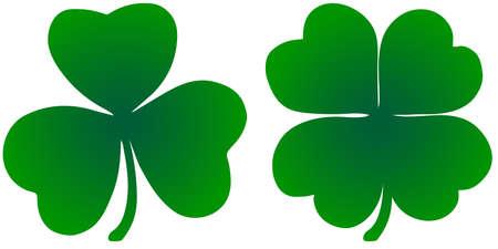 Shamrock vector trefoil and quadruple. An illustration element for St. Patricks Day. Symbol of Ireland. Ilustração