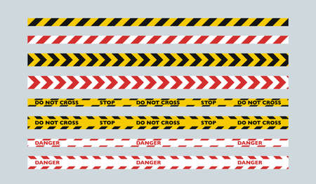 A set of two-color fence tapes. Yellow and black tape for the police, red and white tape for public services.