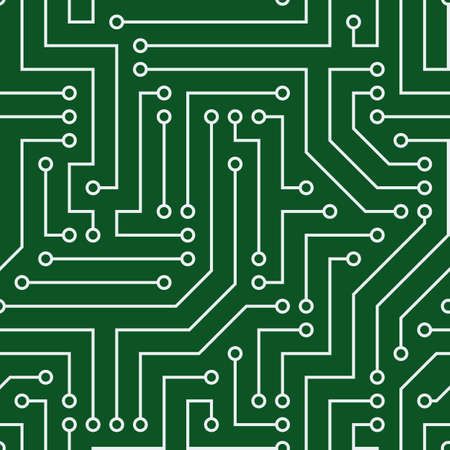 Seamless pattern with chip. Gray wires, green background. Vector image. Suitable for technical sites and printing.