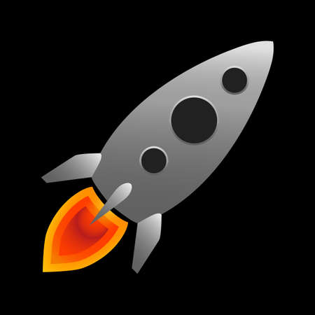 Rocket flight. Vector illustration concept of new projects start up, development and launch a new innovation products on a market.