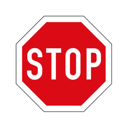 European variant of stop road sign. Red octagon with white border and stop text.