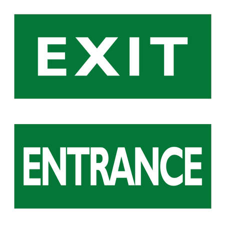 Exit and Entrance signs. English white text on green background.