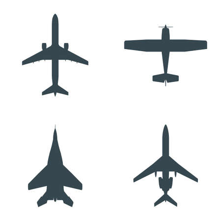 A set of four silhouettes of aircraft, both civilian and military. Vector EPS10.