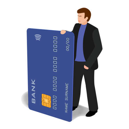 Man with a big credit card. Vector isometric clip-art in cartoon style. Good illustration for any financial project. Abstract bank, abstract payment system.