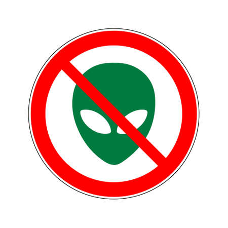 Stop aliens road sign. A green alien face crossed by a red stripe in a circle.