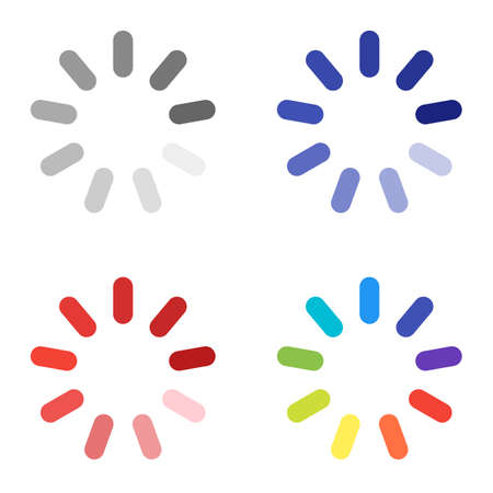 A set of four preloaders. Vector-based preloaders for web design with 9 segments of different colors. Gray, blue, red and colorful.