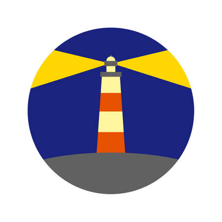 Lighthouse color vector icon. Simple cartoon style image. Two beams on a dark blue background of sky and water, a rocky shore, a storm.