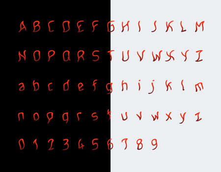 Maniac or psychedelic vector font, red gradient terrifying letters and numbers. Alphabet, resembling a drop of blood or a game of fire. Sans serif, regular, oblique, ugly.