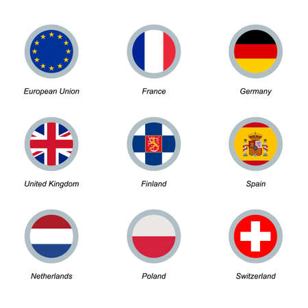 Set of 9 vector round icons with flags. European Union, United Kingdom, France, Germany, Finland, Spain, Netherlands Poland and Switzerland