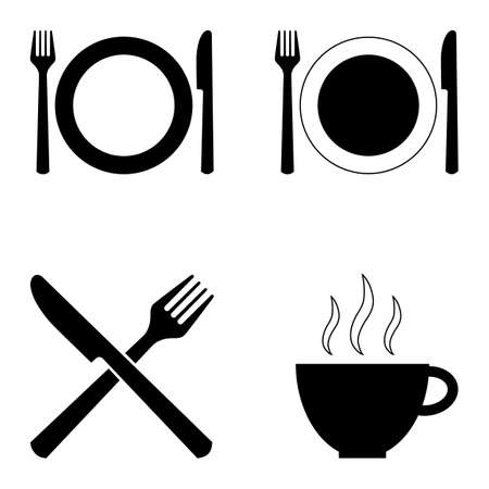 Set of four symbols for cafes, restaurants and other catering. Knife, fork, plate and cup. Can be used as signs, pointers, design elements, etc. Vector isolated silhouettes.