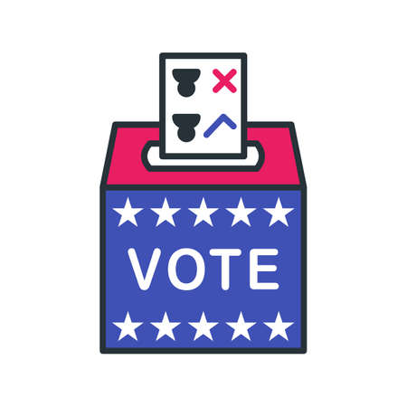 Balloot box outline icon. Color vector item from set, dedicated to the presidential elections in the USA on November 3, 2020.