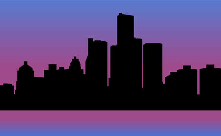 Detroit skyline silhouette. Evening panorama of the capital of Michigan.