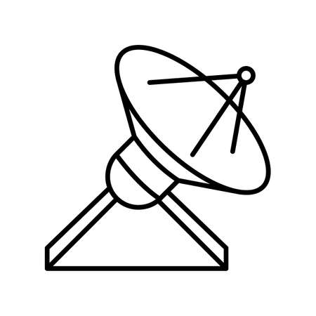 Locator outline icon. Black and white vector item from set, dedicated to science and technology.
