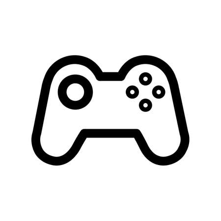 Gamepad outline icon. Black and white item from set dedicated computers and office equipment, linear vector.
