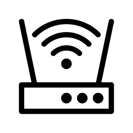 Router outline icon. Black and white item from set dedicated computers and office equipment, linear vector.