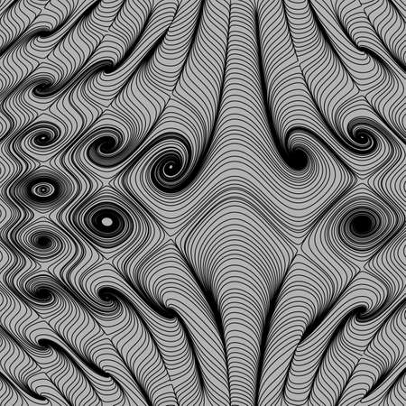 Optical art, vector striped background. Abstract smooth black wave curve motion lines graphic. Elephants at a watering hole.