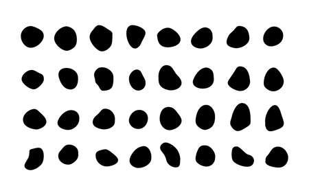 Set of many isolated vector blotches, inkblots - rich collection of organic blobs, blots - speck shapes - splat, fleck scalable graphic - design elements - stones, rocks silhouettes - ink stains, mottle spot irregular shapes - basic, simple rounded, smooth forms