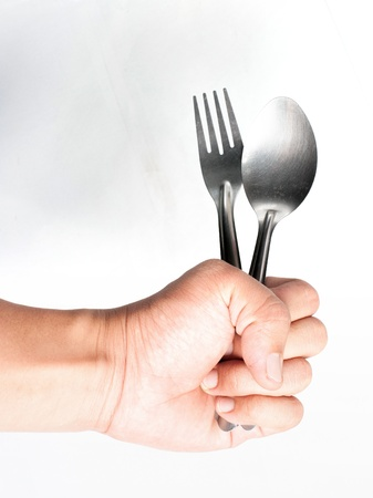 Holding a fork Stock Photo - 17361864