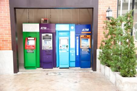 payee: Colorful of atm machines in Thailand