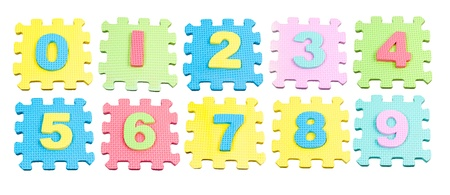 Number learning blocks isolated over white photo