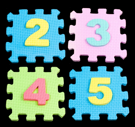 Number learning blocks isolated black photo