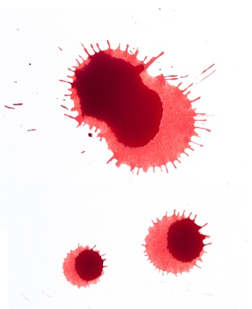 bleed: Splattered blood stains on a white background