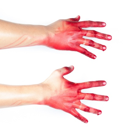 Hand in blood on a white background Stock Photo