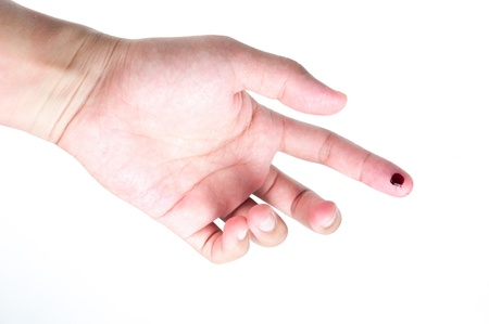 finger with blood isolated