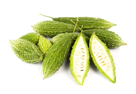 Bitter cucumber, herbal plant isolated on white background.