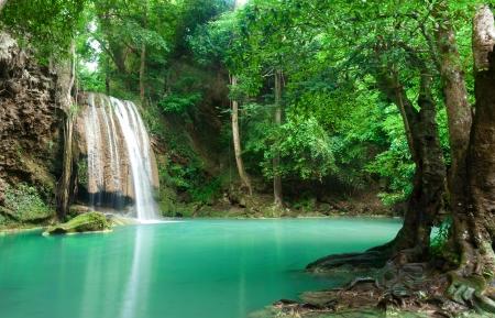 Blue stream waterfall in Kanjanaburi Thailand (Erawan waterfall Nation Park)