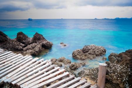kood: Wooden pier over the beautiful ocean at Koh Kood island Thailand