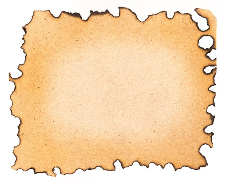 Burned paper isolated on a white background photo