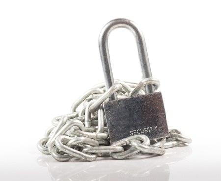 Padlock and chain isolated on white background photo
