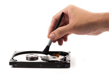 harddisc: Harddisk cleaner on a white background.