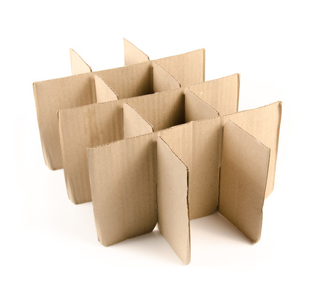 Stack of cardboard paper isolated on white background.