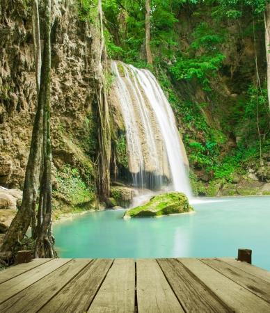 Waterfall in tropical forest at Erawan national park Kanchanaburi province, Thailand photo