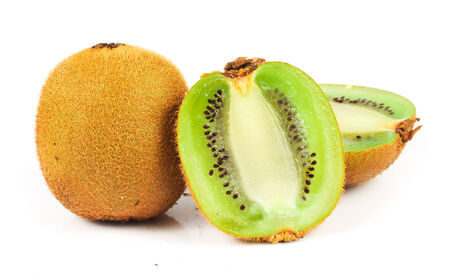 Whole kiwi fruit and his sliced segments isolated on white photo