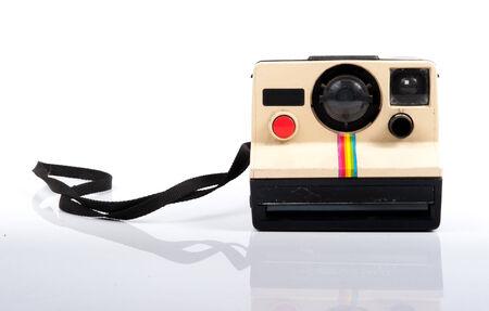 folding camera: Vintage Folding Instant Camera Isolated on a White Background