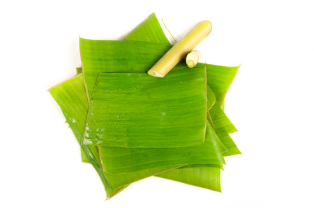banana leaf: Banana leaves for wrapping or serving food as ecological dishware Stock Photo