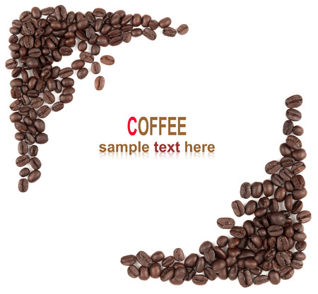 Coffee beans background isolated white with sample text photo